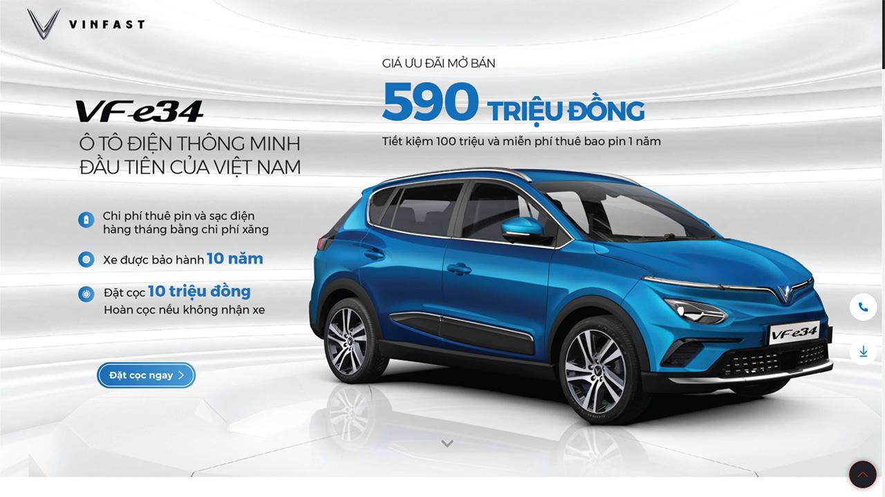 Đã có thể đặt mua ô tô điện VinFast VF e34 với giá ưu đãi 590 triệu đồng - VinFast VFe34