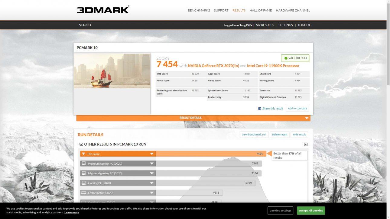 Intel Core i9-11900K: Tối ưu hiệu suất vận hành dựa vào AI - PCMark 10 3070