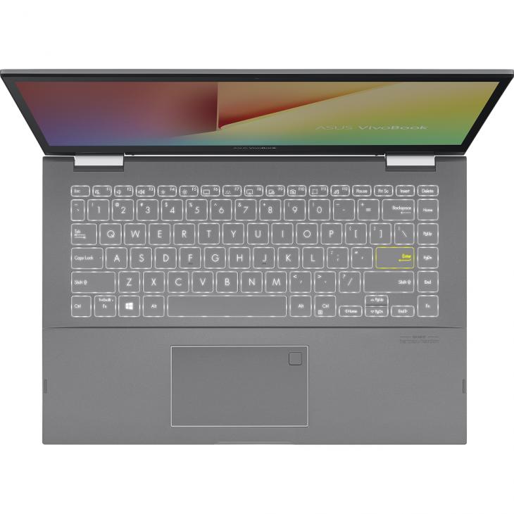 VivoBook Flip 14 TP470: laptop xoay gập, màn hình cảm ứng dành cho giới trẻ, giá từ 14,9 triệu đồng - ASUS TP470 Product photo  2S Transparent Silver 12 Backlit