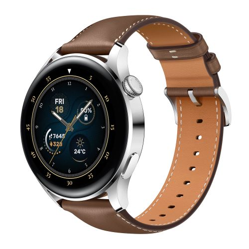 Ra mắt bộ đôi đồng hồ thông minh cao cấp HUAWEI WATCH 3 Series - MKT Galileo ProductID Stainless Steel Brown Leather Strap Special Angle 01 EN HQ JPG 6MB 20210426