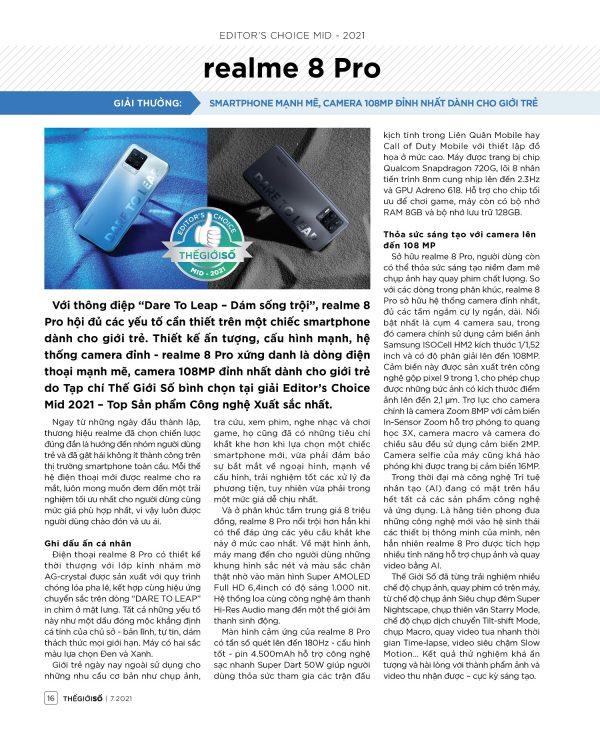Editor's Choice Mid 2021: realme 8 Pro - Smartphone mạnh mẽ, camera 108MP đỉnh nhất dành cho giới trẻ - 16 EDs Choice 1 tr realme 8 Pro