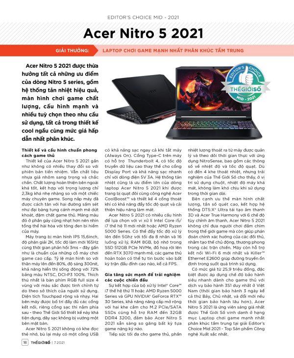 Editor's Choice Mid 2021: Acer Nitro 5 2021 - Laptop chơi game mạnh nhất phân khúc tầm trung - 18 EDs Choice 1 tr Acer Nitro 5