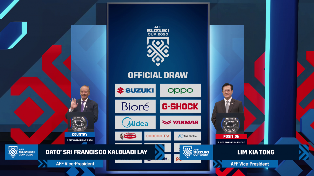 OPPO là smartphone tài trợ cho AFF Suzuki Cup 2020 - AFF Suzuki Cup 2020 Official Draw AFF VPs with sponsors backdrop with L3 GFX